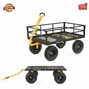 Gorilla Carts Gor1400 Heavy Duty Steel Utility Cart With Removable Sides 1400-lb