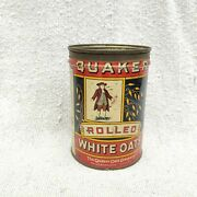1930s Vintage Rolled White Quaker Oats Advertising Tin Box Round Litho Canada