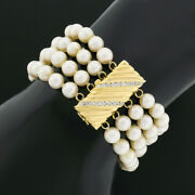 Vintage 14k Gold 0.50ct Diamond Channel Grooved Clasp 4 Row Fine Pearl Bracelet