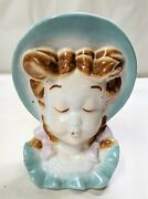 Royal Copley Orient Girl In Blue Wall Pocket Head Vase - Signed