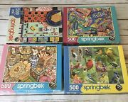 4 Springbok Jigsaw Puzzles 500 Piece Games Candy Birds Cookie Tins Euc Complete