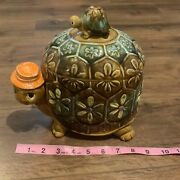 Vtg 60and039s 70and039s Napco Ware Ceramic Brown Turtle/tortoise Daddy And Baby Cookie Jar