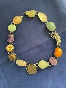 Rebecca Collins Sterling Necklace Ancient Coin Turquoise Amethyst Amber Jade