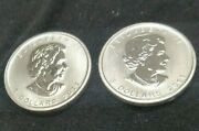 2 Canadian Silver Maple Leaf 5 Coin 2011 - 1 Oz Coins Of .999 Fine Mint Silver.