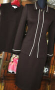 Nwot St John Collection Chocolate Brown Knit Suit Jacket 4/tank Top P/skirt 4