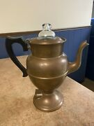 Antique Rochester Stamping Co. Copper Coffee Tea Pot Electric Warmer 10 5/8