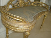 Amazing Rare French Antique 19th Century Louis Xvi Gilt Carved Setee/ Bench