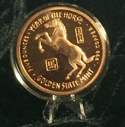 5 Oz. Year Of The Horse 2014 Copper Round Coin Capsule Stand Display Complete