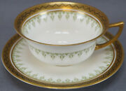 Royal Doulton E831 Green , Gold And Black Porcelain Tea Cup And Saucer C 1902 - 1930