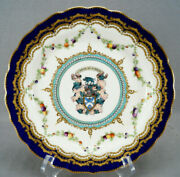 Royal Worcester Marwick Family Armorial Crest Cobalt Gold And Fruit Plate C.1909 A