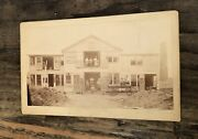 Antique Photo Outdoor Occupational Scene With Workers, Advertising Signs 1880s