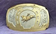 Vtg Rare Silver Plex Mexico Sterling And Gold Huge Bull Riding Trophy Belt Buckle