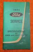 1964 Ford Nos Service Specifications For Cars And Light Trucks Hand Book Manual