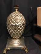Rare Maitland Smith Claw Foot Silver Table Top Pineapple Knife/storage Box