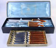 Vintage E Parker And Sons Sheffield England Carving Set And 6 Steak Knives