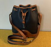 W@w Vintage Dooney And Bourke Navy Brown Awl Leather Drawstring Duffle Bag Purse