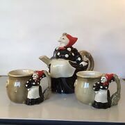 """Fitz And Floyd Vtg Kitchen Witch Teapot And 2 Cups 1979 7"""" Tall 8.5"""" Across"""