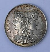 Antique French Art Silver Wedding Marriage Medal By Gayrard