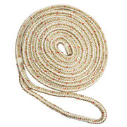 New England Ropes 5/8 X 35and39 Nylon Double Braid Dock Line - White/gold W/...