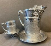 Tufts Lion Silver Plate Water Pitcher Stand And Cup -- Incredible Design