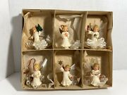 Vintage Set Of 6 Plastic Angel Spun Glass Wings Christmas Ornaments West Germany