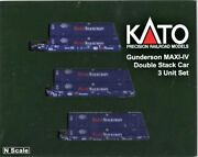 N Scale Kato 106-6180 Pacer Gunderson Maxi-iv 3-unit Well Car W/6 Containers