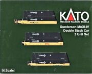 N Scale Kato 106-6176 Ttx Gunderson Maxi-iv 3-unit Well Car W/6 Umax Containers