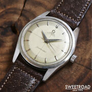 1956 Antique Omega Seamster Ref.2869-1 Two-tone Silver Dial Automatic Ss 34mm