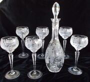 Nachtmann Traube Cut Crystal Wine Decanter And 6 Wine Hocks - Perfect Condition