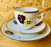 Flawless Bandg Bing And Grondahl Pansies Porcelain Trio Cup Saucer Plate