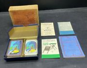 Art Deco 1930and039s Boxed Twin Pack Mini Playing Cards Patience + Pamphlets Score