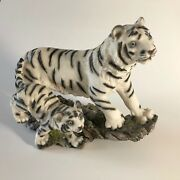 Mrh, White Tiger Figurine, Statue, Mother And Cub Walking,12 Long 8 High,resin