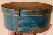 Early 1800andrsquos Primitive Round Small Blue Pantry Box 6andrdquo Diameter Fantastic Patina
