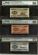 China 1 2 5 Fen P-860 861 862 1953 Serial Numbers Unc Set Pmg 66 Plane Ship Note