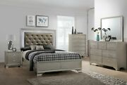 4pc Glamorous Master Bedroom Set Queen Size Led Headboard Bed Wooden Furniture