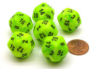 Vortex 20mm 20 Sided D20 Chessex Dice 6 Pieces - Bright Green With Black