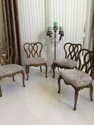 4 Antique Vintage Mid Century French Mebane White Co. Pretzel Wood Dining Chairs