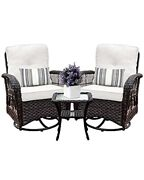 Harlie And Stone Outdoor Swivel Rocker Patio Chairs Set Of 2 And Matching Side