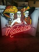Victoria Beer Day Of The Dead Skull Ladys Neon Light Up Sign Bar Game Room New