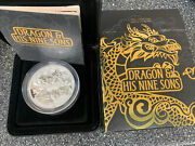 """2016 5 Oz 999 Silver Coin """"dragon And His Nine Sons """"tuvalu Perth Mint 1000 Minted"""