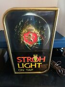 Strohs Beer On Tap Motion Moving Spinning Starburst Light Up Sign Game Room Mich
