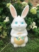 Vintage Easter Bunny 34 Inches Blow Mold Holiday Yard Decor