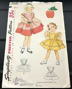 Vtg 1950s Simplicity Sewing Pattern 4136 Child Sz 1 Dress And Apron Uc No Transfer
