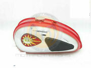 Fit For Bsa C15 Red Painted Chrome Fuel Petrol Tank + Cap+ Knee Pad+ Tap