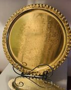 """Vintage Filagree Etched Scalloped Edge Solid Brass Serving Platter Tray 12"""""""