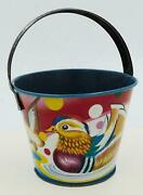 Vintage Small Japanese Tin Sand Pail- Floating Duck In Water
