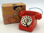 Red Baby Phone In Box-vintage Japanese Tin Toy Telephone
