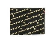 400 Bally Logo Mens Bifold Leather Wallet Black Made In Italy Bevye New In Box