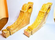 2 Antique Curtain Pole Brackets Gilded Gesso Carved Wood Acanthus Pair Victorian