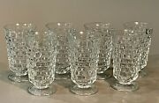 """7 Fostoria American Clear Cubed Footed 12 Oz Iced Tea Glass 6"""" Goblets Tumblers"""